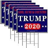 """God, Guns & Country President Donald Trump - Keep America Great! - 2020 Political Campaign Rally Yard Sign (24""""x18"""") Included Metal Stake - Made in America, Waterproof, Double Sided Print (5)"""