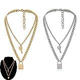 Daimay 2PCS Legierung Choker Halskette Schlüssel Sperren Anhänger für Frauen Männer Chunky Chain Punk Gothic Halsketten Pullover Kette – Gold und Silber