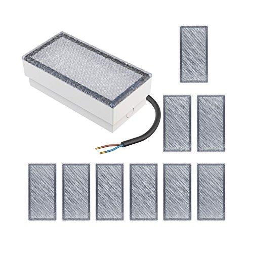 Parlat LED mattonella Lampada da Incasso a Suolo CUS, 20x10cm, 230V, Bianca Calda, 10 PZ