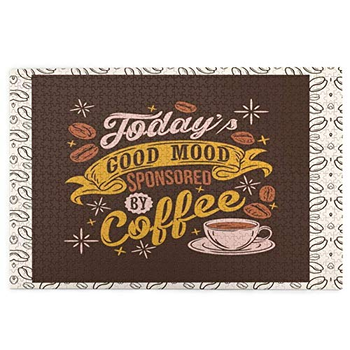 1000 Pieces Jigsaw Puzzle Coffee Pictures Puzzle for Adults Teens Large Wooden Puzzle Game Artwork for Home Wall Decoration Photo Frame Box Kids DIY Floor Puzzles
