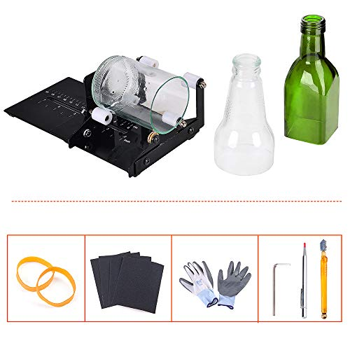 IMT Professional Bottle Cutter, Glass Cutter Wine Bottle Cutting Tool Kit for Square/Round Bottles, DIY Crafting Machine with Accessories of Glass Cutters, Scribe, Gloves, Scoring Tools and Much More
