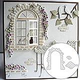 P12cheng Fustelle in metallo, Muro di mattoni, Finestra, Fustelle fai da te, scrapbooking, carta, goffratura, artigianato, goffratura, stencil - argento