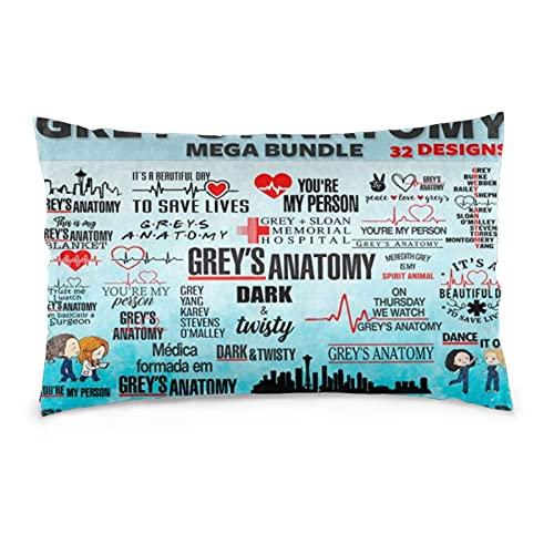 Grey'S Anatomy14 x 50 cm, fundas de almohada rectangulares, fundas de cojín para decoración de cama, fundas de almohada rectangulares, utilizadas en la sala de estar y dormitorio, cojines de coche