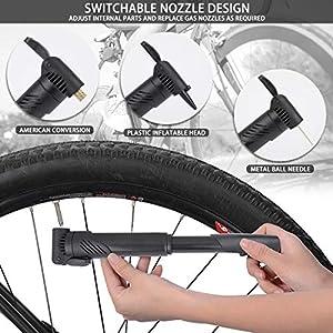 Wonnell Bomba de Bicicleta Mini Bomba de Bike Bomba de neumático portátil Tapas de válvula de Ciclo y Montaje de Marco Se Adapta a válvulas Presta y Schrader Inflado rápido y preciso