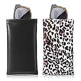 MoKo Fundas de Gafas Suave (2 PZS), Estuche para Gafa de Sol PU Bolsa de Almacenamiento de Gafas con Paño de Limpieza, Negro + Leopardo