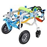 Adjustable Wheels Dog Wheelchair,Dog Cart Fore-Leg Rehabilitation Four Wheels Wheelchair Cart Disabled Dog Assisted Walk Car for Front Legs for Small Dog Doggie Puppy Cat (XXXS)