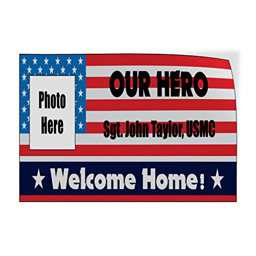 Custom Door Decals Vinyl Stickers Multiple Sizes Welcome Home Name U.S Army Flag Lifestyle Welcome Home Outdoor Luggage /& Bumper Stickers for Cars Red 42X28Inches Set of 5