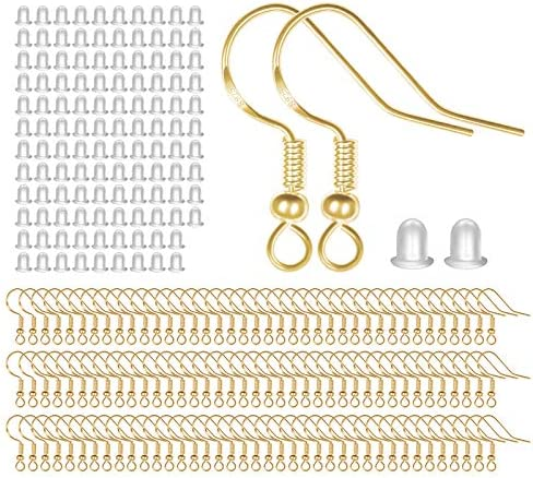 925 Sterling Silver Earring Hooks 120 PCS/60 Pairs, Ear Wires Fish Hooks, Hypo-allergenic Jewelry Findings Parts with 120 PCS Clear Silicone Earring Backs Stoppers for DIY Jewelry Making