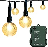 Battery Operated Globe String Lights, LOENDE Crystal Globe String Lights 16ft 30 LED 8 Modes Waterproof String Lights with Timer for Backyard Garden Balcony Pergola Wedding Party Decor( Warm White )
