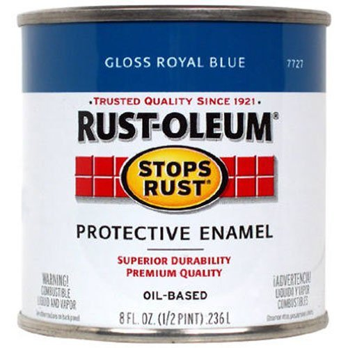 Rust-Oleum 7727730 Stops Rust Brush On Paint, Half Pint, Gloss Royal Blue