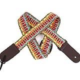 Correa para guitarra clásica de tejido jacquard colorido, de tela, estilo retro, trenzado, longitud ajustable