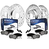 Detroit Axle - Front & Rear Drilled Slotted Rotors + Brake Pads Replacement for Fusion Lincoln MKZ Zephyr Mazda 6 Milan - 8pc Set