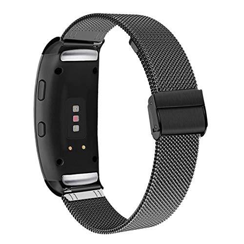 WATORY Gear Fit 2 Pro/Fit 2 Armband, Mesh Gewebte Edelstahl Armband Metall Uhrenarmband Business Ersatzband für Samsung Gear Fit2 SM-R360/Fit 2 Pro SM-R365, Schwarz