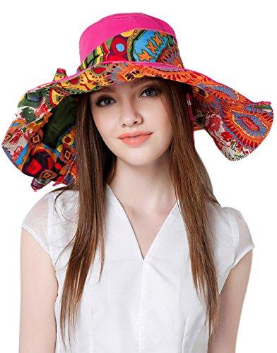 Casquette Visière Chapeau de Plage Coloré Large Bord Anti-UV Sun Hat Brim Vacances Capeline Repliable Randonné/ Cyclisme Protection Solaire Sun Hat pour Printemps Eté Casual Panama Loisir Aux Femme Fille Dame