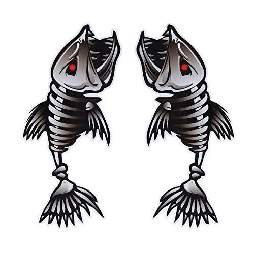 Wakauto Calcomanías de Esqueleto de Peces de 10X5 Pulgadas Pegatina Adhesiva de Vinilo Duradera Y Delicada para Kayak Coche de Pesca (2 Piezas)