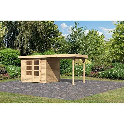 Röhrs Edition - Karibu Gartenhaus Walsrode 3 naturbelassen Set mit Anbaudach - Gerätehaus aus Fichtenholz - 242 x 217 cm - 19 mm Wandstärke - modernes Design mit Flachdach