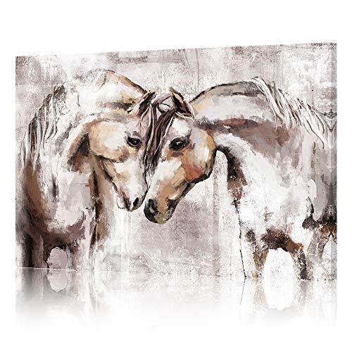 SUMGAR Kunstdruck auf Leinwand Vintage-Gemälde braune Pferde Wandkunst Bauernhof-Bilder Kunstwerk gespannt für Schlafzimmer Wohnzimmer Büro Heimdekoration 60 x 40 cm