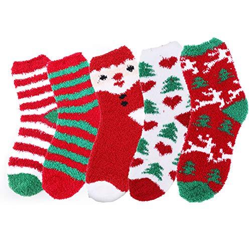 TAGVO 5 Pares Calcetines Mullidos de Mujer, Calcetines de Invierno Acogedores Térmicos Calcetines Casuales de Vacaciones para Mujeres Niñas Navidad