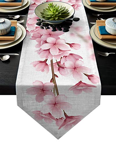 Corredor de la Mesa de Las Flores de Cerezo Rosa para el Boda del Hotel Pastel de Fiesta de la Fiesta Floral Decoración del hogar (Color : 1, Size : 33x178cm)