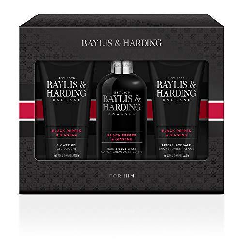 Baylis & Harding Trio de toilettage pour homme Motif poivre noir