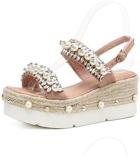 7cm Wedge Talon Sandales Sandales Chaussures Habillées Femmes Pompe Open Toe D'orsay Semelles Plate-Forme à Semelles épaisses Perle Strass Corde Déco Décontracté Court Chaussures Eu Taille 34-39