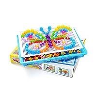 1st market パズルペグボード296個Diyキノコネイルジグソーパズルモザイクペグボード教育玩具子供向けキッズキッズ 人気