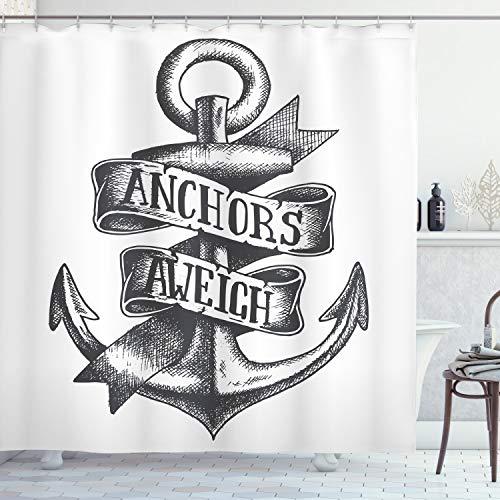 ABAKUHAUS Anker Duschvorhang, Tattoo Style Old Symbol, Waschbar & Leicht zu pflegen mit 12 Haken Hochwertiger Druck Farbfest Langhaltig, 175 x 180 cm, Holzkohle Grau weiß