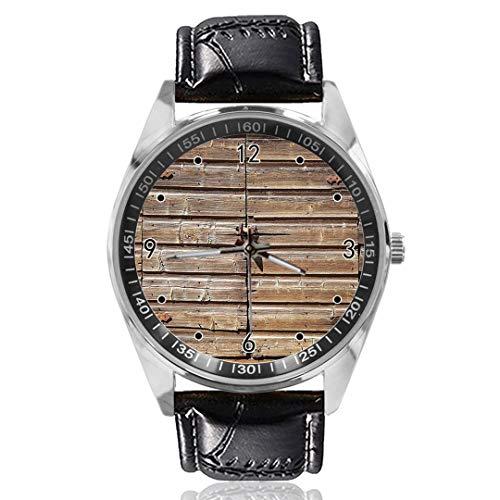 Oude houten verouderd schuur deur aangepast ontwerp analoge kwarts horloges zilveren wijzerplaat klassieke lederen band vrouwen horloge