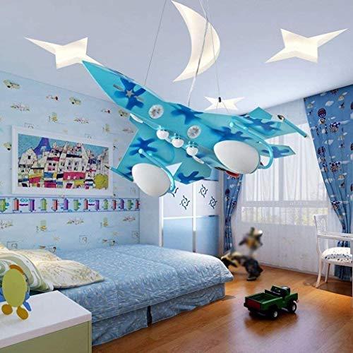HMKJ Luces de Techo de Aviones, Dormitorio de Techo LED Creativo Candlestick Boy Dormitorio Candelabra Kindergarten Luces de Clase 63 * 70 cm Moda araña de la Oficina (Color : Blue)