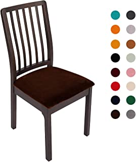 Soft Velvet Stretch Fitted Dining Chair Seat Covers, Removable Washable Anti-Dust Dining Room Upholstered Chair Seat Cushion Cover Kitchen Chair Protector Slipcovers with Ties - Set of 2, Coffee