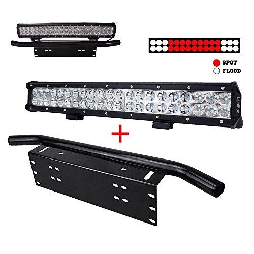 Number Plate Frame Mount Bracket Bull Bar 23 inch Tri-row LED Light Bar Combo