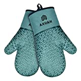 AXUAN Oven Mitts, Heat Resistant 500℉ Kitchen Gloves with Recycled Cotton Infill, Terrycloth Lining, Non-Slip Food Grade House Mitten Silicone Gloves for Cooking Baking BBQ