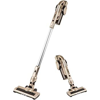 Luby Cordless Vacuum Cleaner, 2 in 1 Stick and Handheld Vacuum Cleaner Lightweight Bagless with 7 Attachments for Home, Pet Hair, Car Cleaning, Champaign Gold