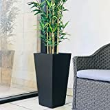 Kante RF0004C-C70221 Lightweight Concrete Modern Tapered Tall Rectangle Outdoor Planter, Burnished Black