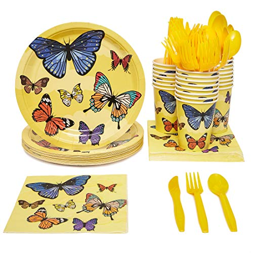 Disposable Dinnerware Set (Serves 24) - Butterfly Theme Party Pack - Inclusief plastic messen, lepels, vorken, papieren borden, servetten, bekers