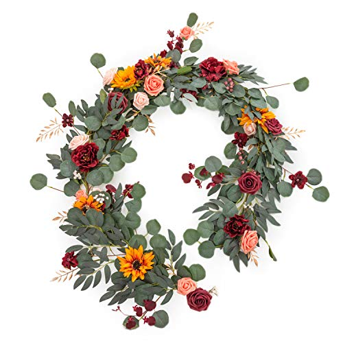 Ling's moment Eucalyptus Garland with Flowers,Table Runner with Flowers Handcrafted Wedding Centerpieces for Rehearsal Dinner Bridal Shower | Rustic Sunflower