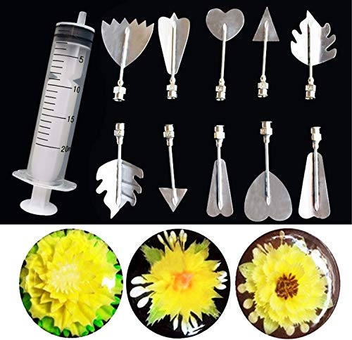 3D Gelatin Art Tools Stainless Steel Jelly Cake Tools - CHAWHO Art Cake Tools Includes 10 Pcs Gelatin Tools and Syringe Pudding Pastry Nozzles for Cake Decoration, Jelly Cake Making #2