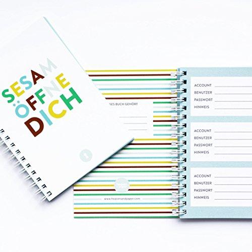 Passwort-Buch im DIN A6 Format (ca. 10x15cm) mit 50 Seiten von heaven+paper® | Dein persönlicher Reminder | Speichere bis zu 150 Passwörter und Konten in modernem Design