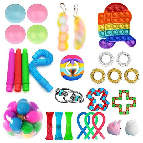 shenruifa Fidget Toys Pack, Sensory Fidget Toys Set, Fidget Toys Box mit DNA Ball und Antistressball Marble Mesh Pop Tubes Bubble Sensorisches Fidget-Spielzeug-Set für Kinder Erwachsene ADHD Autism