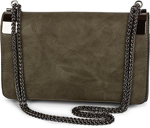 styleBREAKER clutch, borsetta da sera con fermagli metallici e catena scorrevole, design vintage, donna 02012046, colore:Oliva