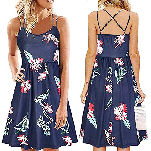 PYLOVER Women's Clothes Summer Sleeveless Suspender Printed Round Neck Dress for Women