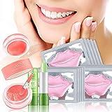 Lip Treatment set - Vitamin C Lip Mask and Strawberry Lip Scrub Aloe Vera Lipstick for Dry Lips Moisturizing Repairing...