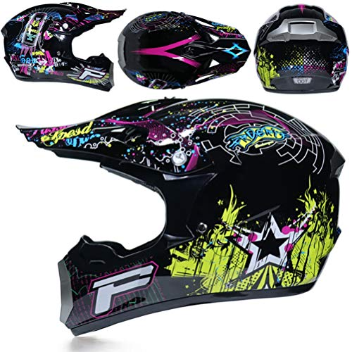 Preisvergleich Produktbild Herren Vollgesichts-Motorradhelm mit Geschenk,  Maske und Visier Off-Road-Motorradsturzhelme Moto Motocross Racing Protection Safety Caps