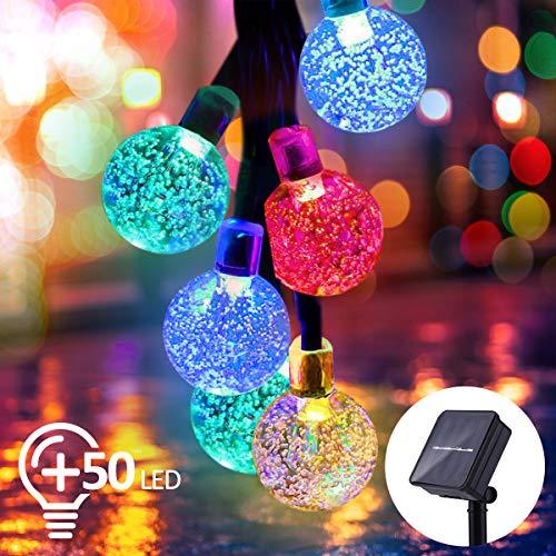 Qomolo Solar Lichterkette Aussen LED Außerlichterkette Aussen 50 LEDs IP65 Wasserdicht Bunt Kugel 7 Meter 8 Modi für Garten Terrasse Hof Haus Party [Energieklasse A+++]