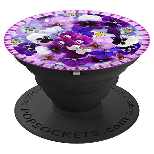 Colorful Pansies with Lace in Purples and Blues PopSockets Grip and Stand for Phones and Tablets