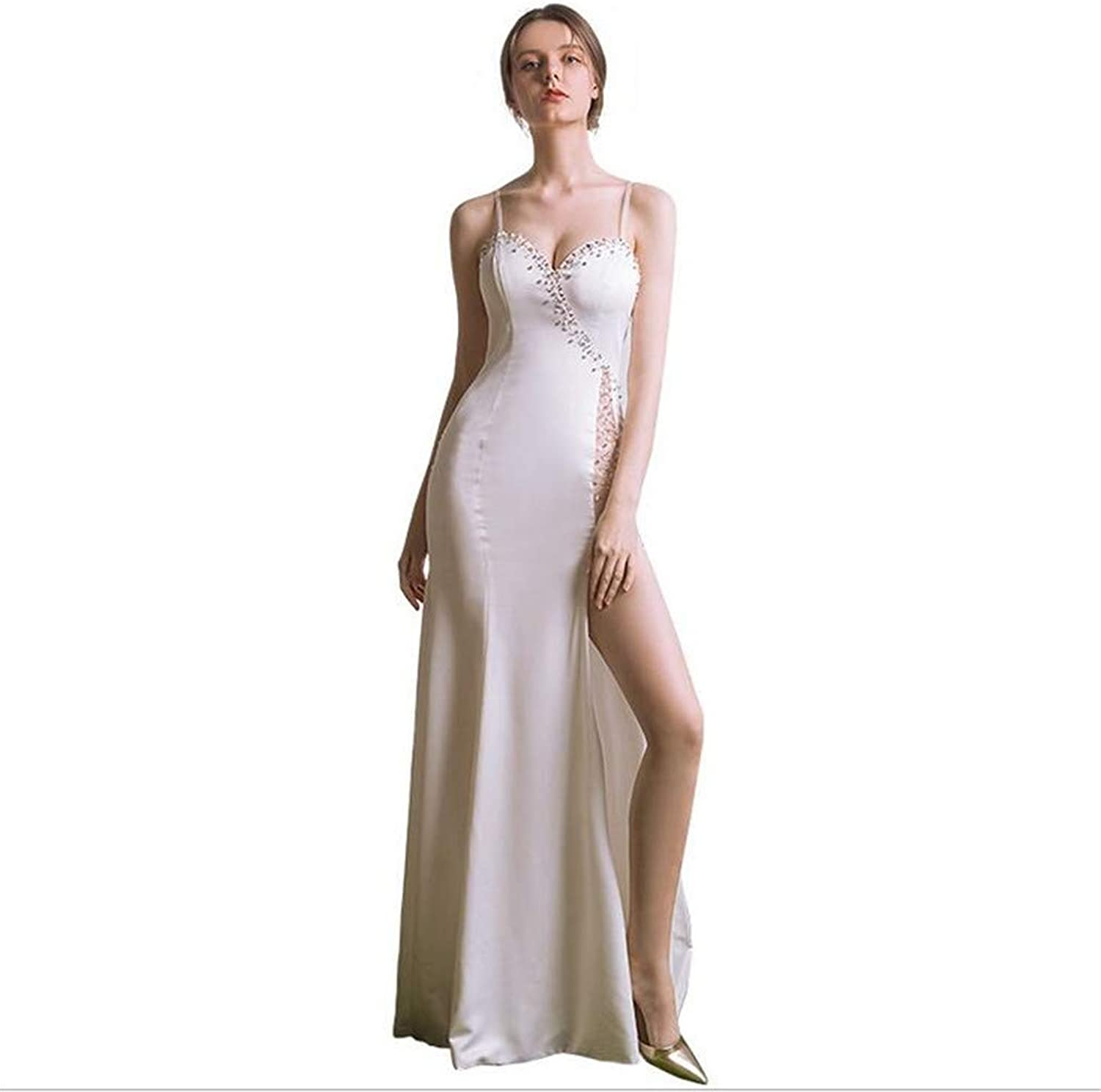 Ladies Sexy Evening Dress, White Skirt Formal Long Gown High Side Slit VNeck Backless Cocktail Party