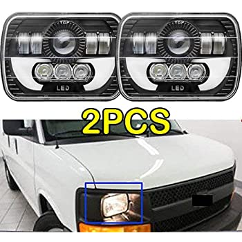 Amazon Com 7x6 Or 5x7inch Led Headlights For Ford E250 E350 E450 Super Duty E150 H6054 H6052 H6014 H4 9003 Replacement Bulb Kit 6000k White Super Bright 45w Package Of 2 Automotive