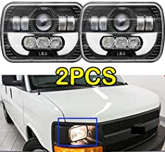 7x6/5x7 inch LED Headlights with DRL for Ford E250 E350 E450 Super Duty E150 H6054/H6052/H6014 H4/9003 Replacement Bulb Kit 6000k White Super Bright (Package of 2)