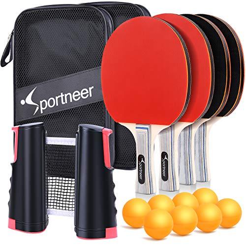 Sportneer Juego de Ping-Pong de Tenis de Mesa - Paquete 4 Raquetas/Palas Premium y 8 Pelotas de Tenis de Mesa - Caucho Esponjoso Suave - Ideal para Juegos Profesionales y recreativos 4 Jugadores