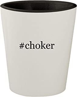 #choker - White Outer & Black Inner Hashtag Ceramic 1.5oz Shot Glass